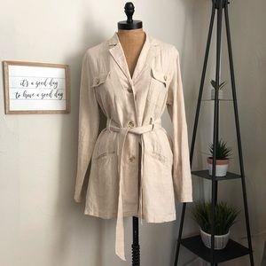 Apostrophe beige buttoned belted linen jacket 12